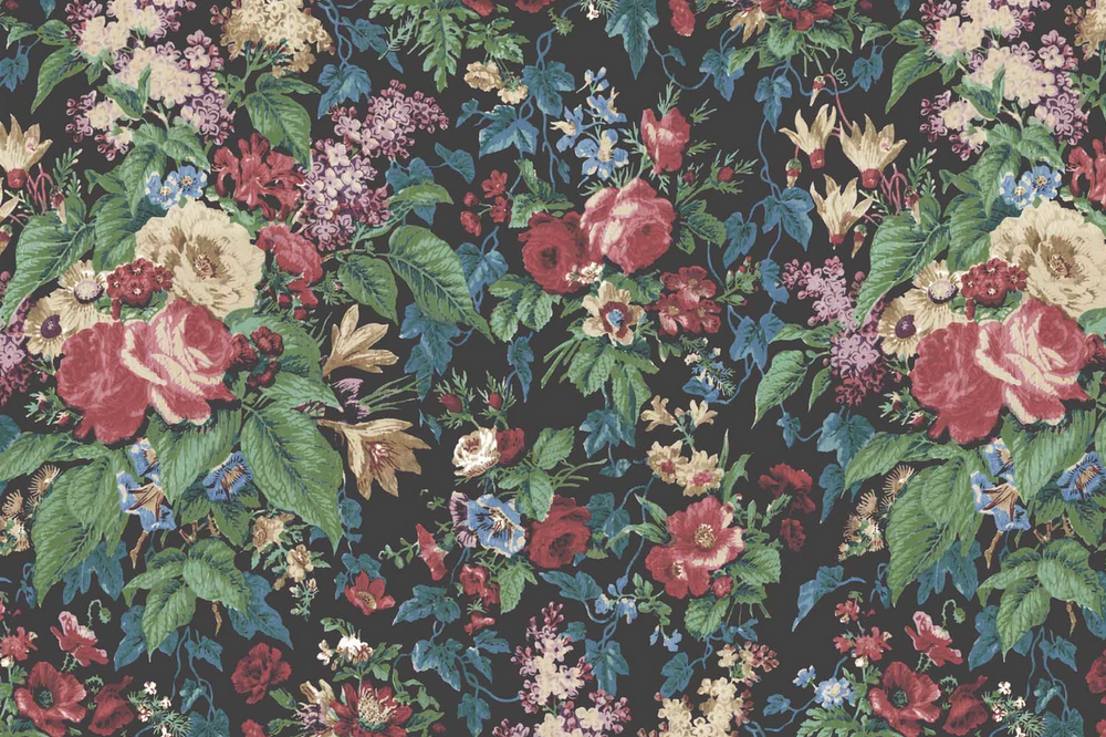 Faded Glamour, Floral Velvet Wallpaper