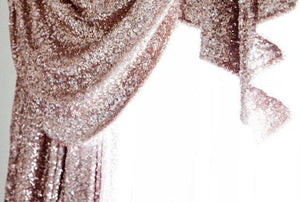 Gold sequin curtain close up