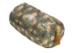 Large gold silk peacock print travel bag