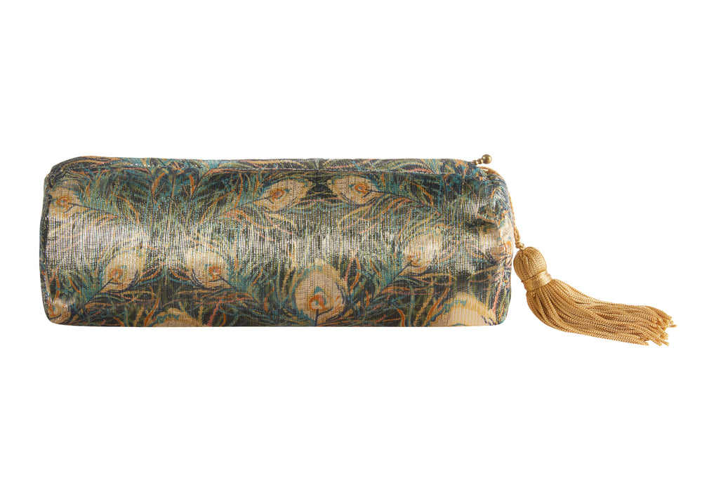 Small gold silk peacock print make up bag
