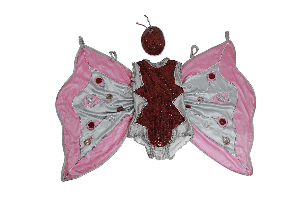 Silk Net Fuchsia & Grey Butterfly