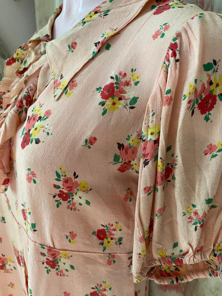 1930s Pink Floral Knee Length Dress