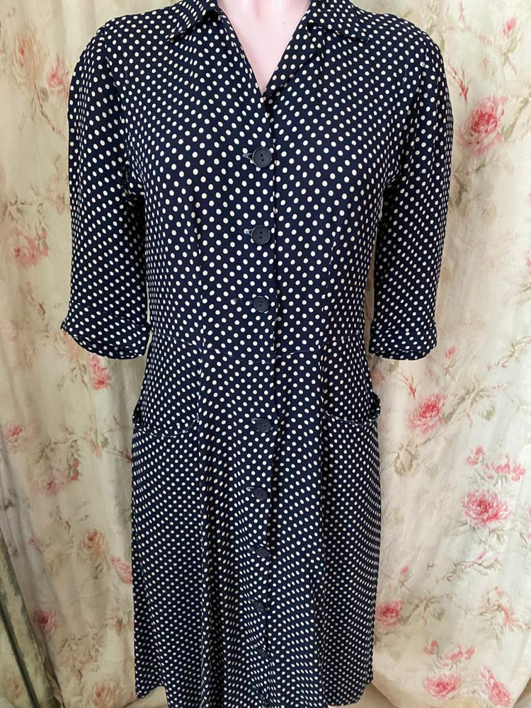 1940s Polka Dot Shirt Dress