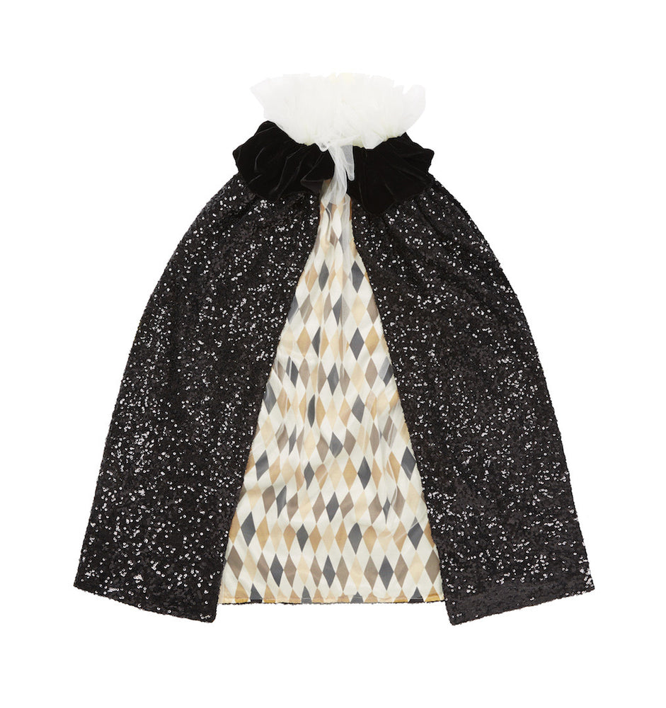 Black Sequin Pierrot Cape with Harlequin Lining