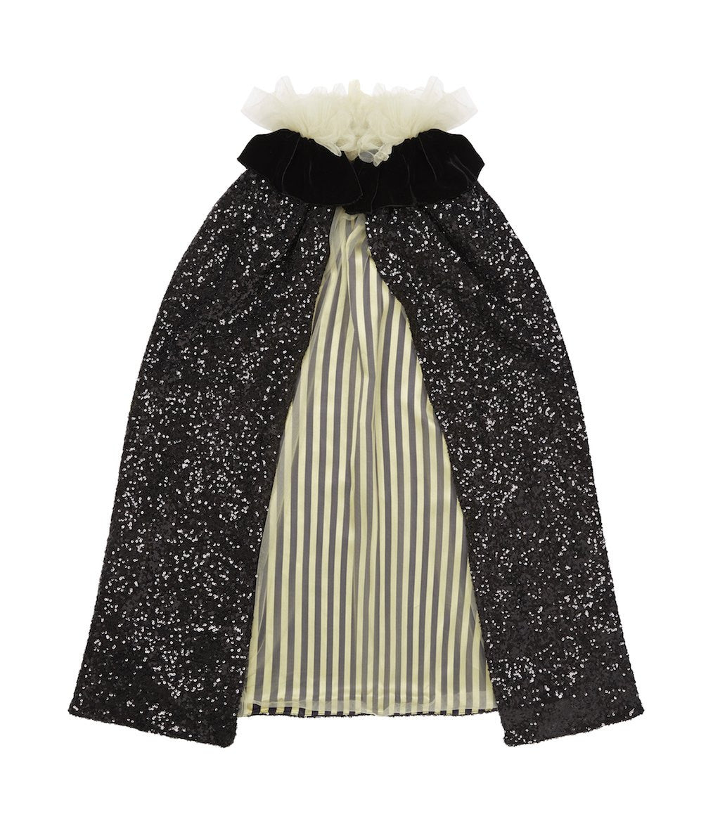 Black Sequin Pierrot Cape with Stripe Lining