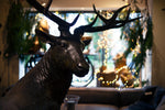 A life sized stag made from bronze with a background of christmas lights and shop window display