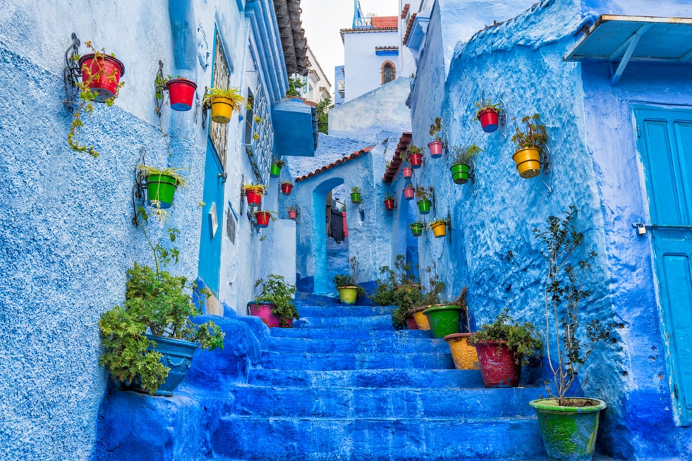 The famous blue streets of Chefchaouen in Morocco