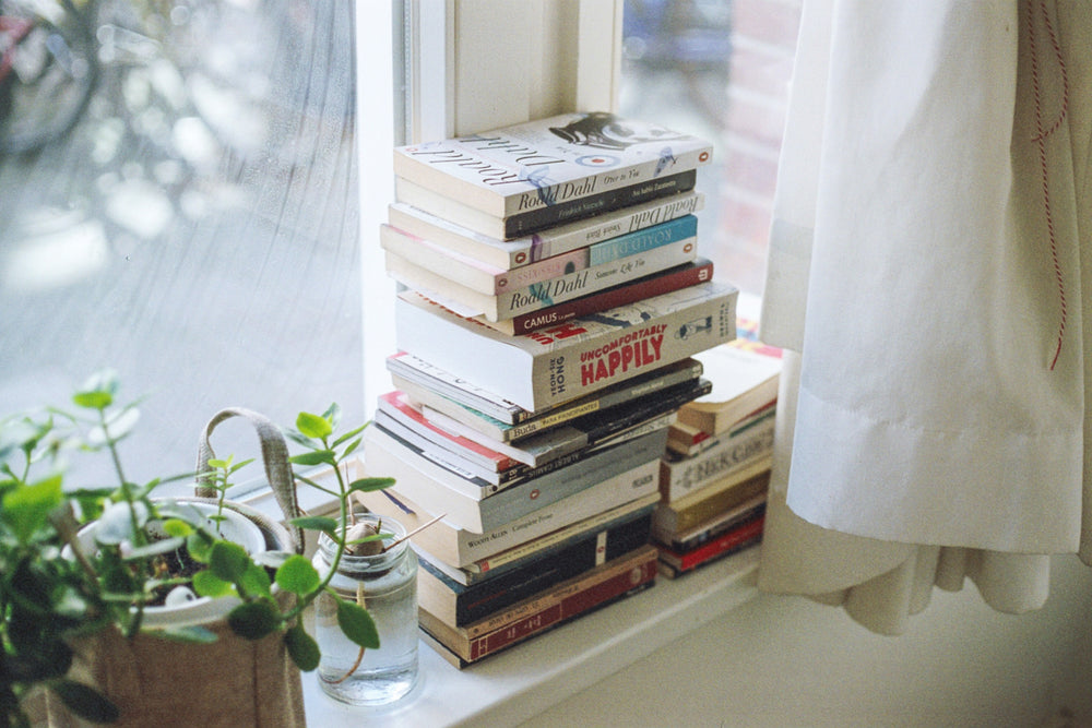 A pile of books and plants on a windowsill.