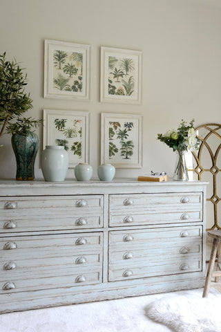 Greenery image, dresser with botanical prints