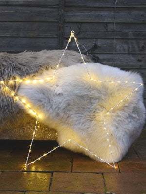 Sheepskin at Cotswold Grey, outside with Christmas star in front.