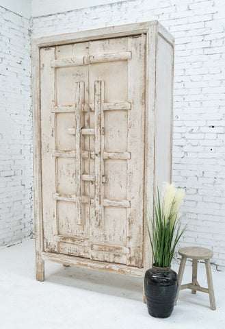 A tall white vintage Chinese wardrobe by Cotswold Grey
