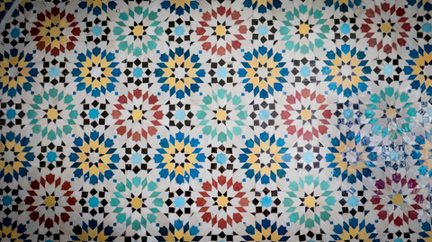 Multi-coloured Moroccan floor tiles.