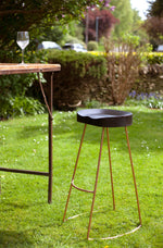 Oslo Tall Stool - Black Top, Copper Legs