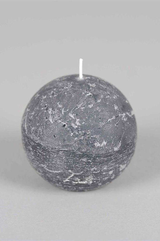 8cm Rustic Spherical Candle - Basalt No.16