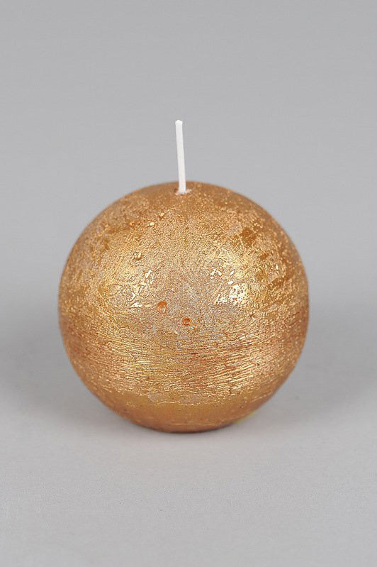 8cm Metallic Rustic Spherical Candle - Gold No.8