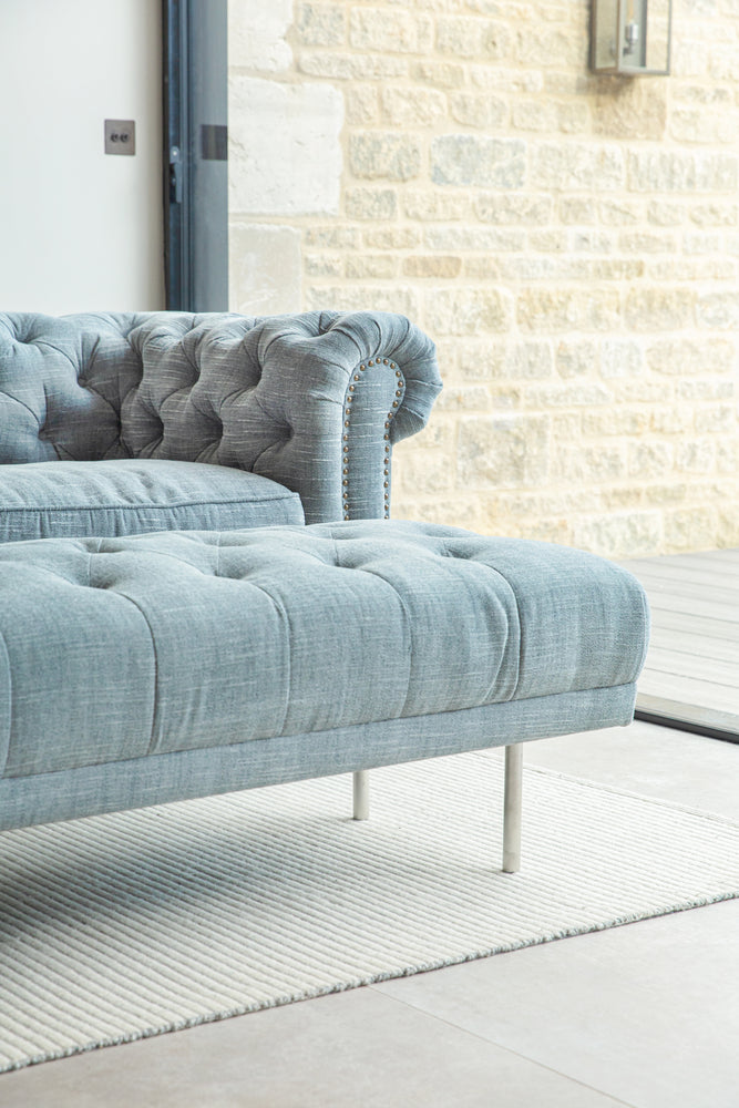 Carme Ottoman - Washed Denim Linen