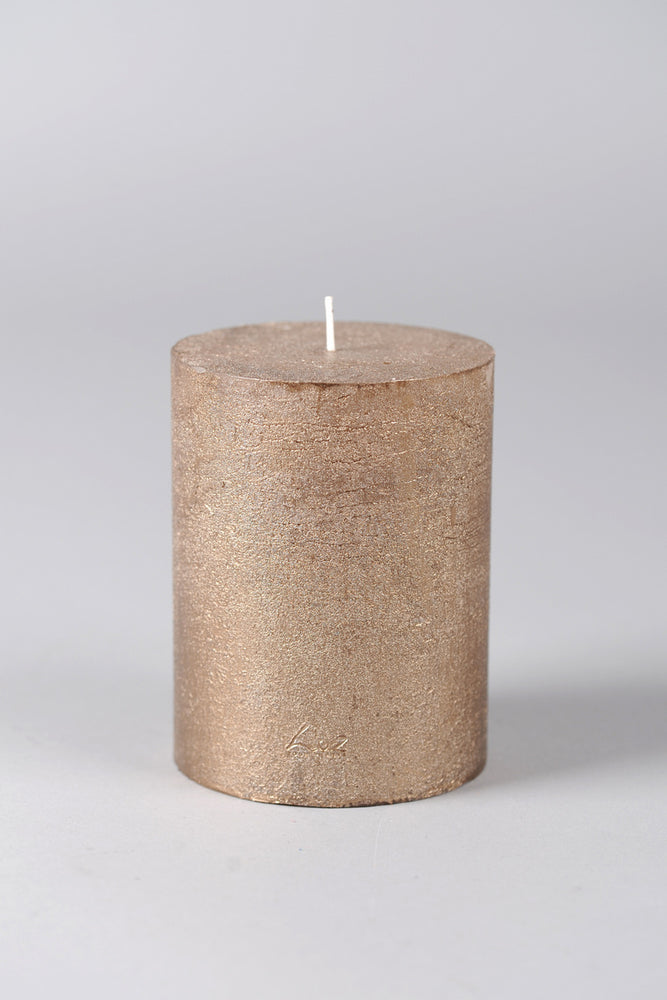 13cm Rustic Cylindrical Candle - Antique Gold No.6