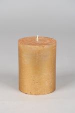 13cm Rustic Cylindrical Candle - Gold No.8