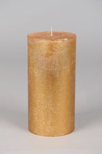 20cm Metallic Rustic Cylindrical Candle - Gold No.8
