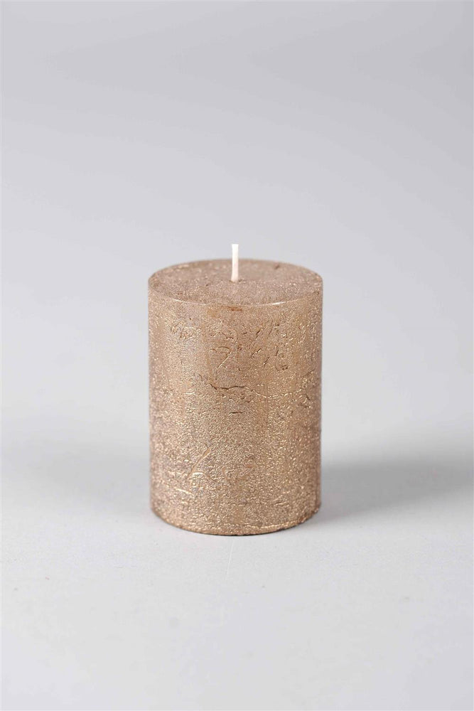 8cm Metallic Rustic Candle - Antique Gold No.6