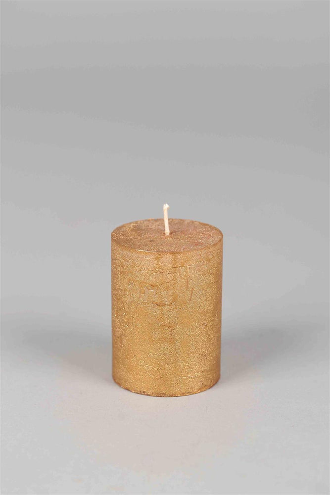 8cm Metallic Rustic Candle - Gold No.8