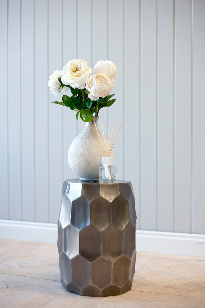 Alu Rough Casting Side Table - Antique Silver Finish