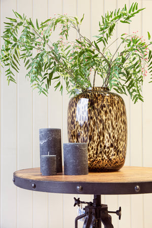 Load image into Gallery viewer, Bulb Amber Black Spotted Vase