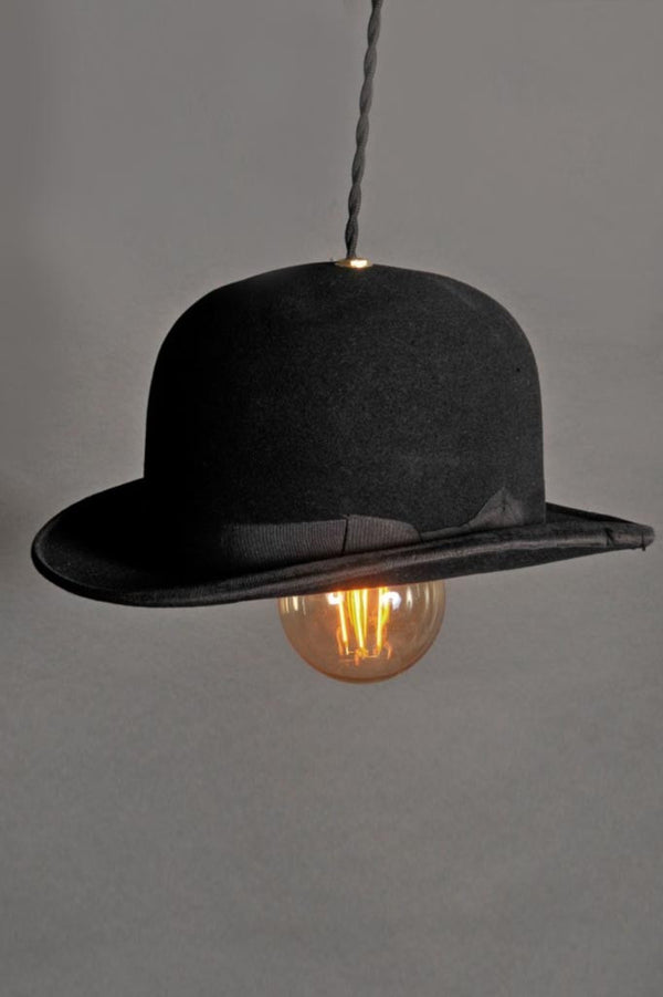 Classic English Gent's bowler hat, converted to light fitting with filament bulbs and flex.