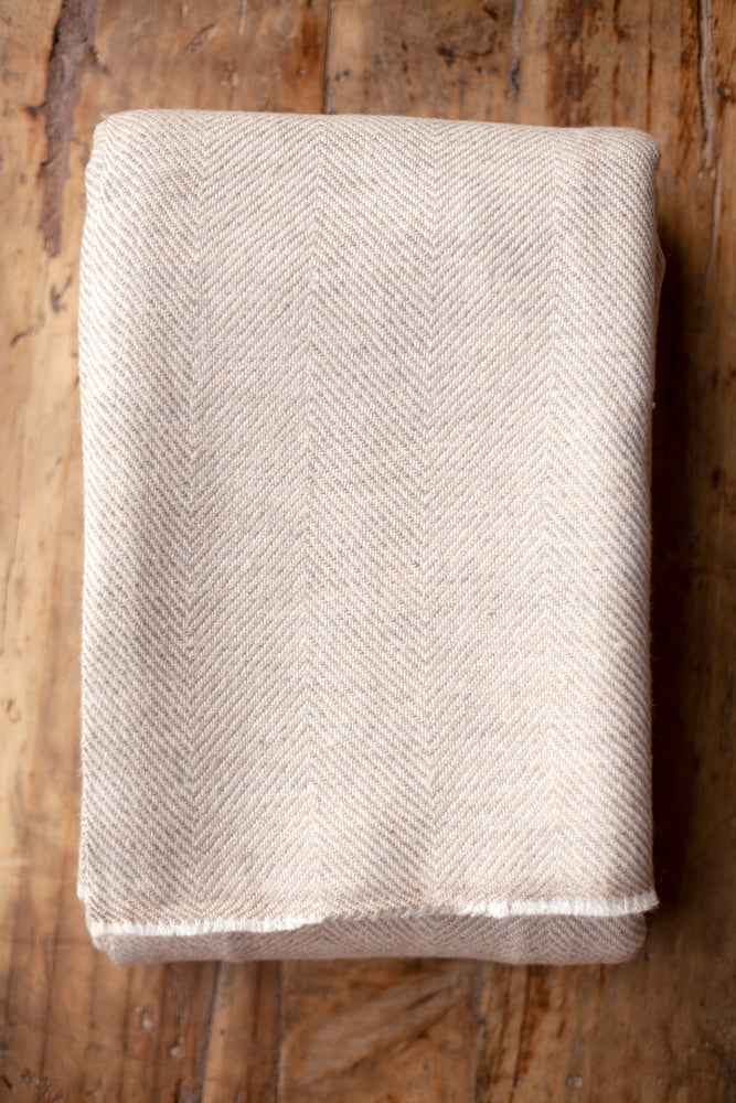 Cashmere Throw - Brown Herringbone