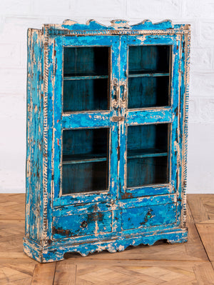 Small Blue Display Cabinet with Shelves