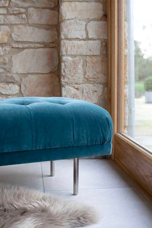 Load image into Gallery viewer, Carme Ottoman - Velvet Petrol Blue