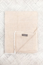 Cashmere Throw - Caramel Herringbone