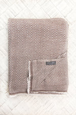 Cashmere Throw - Chocolate Chevron