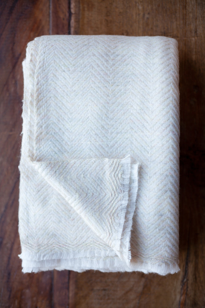 Cashmere Throw - Beige Chevron