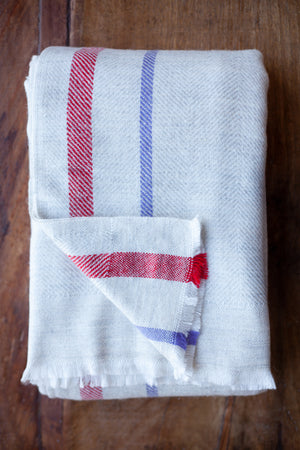 Cashmere Throw - Beige, Red and Purple Stripe
