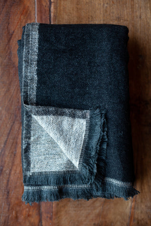 Cashmere Throw - Black and Grey