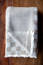 Cashmere Throw - Brown Checkerboard