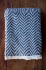 Cashmere Throw - Charcoal Chevron