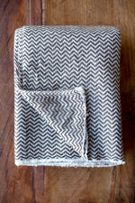 Cashmere Throw - Chocolate Brown Zig Zag