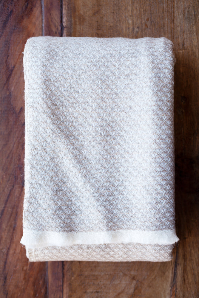 Cashmere Throw - Fawn Diamond Print