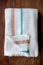Cashmere Throw - Grey, Rust and Turquoise Stripe