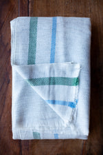 Cashmere Throw - Grey, Sky Blue and Green Stripe