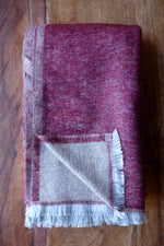 Cashmere Throw - Merlot Red and Sand
