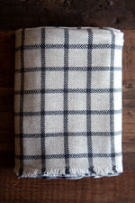 Cashmere Throw - Beige Grid