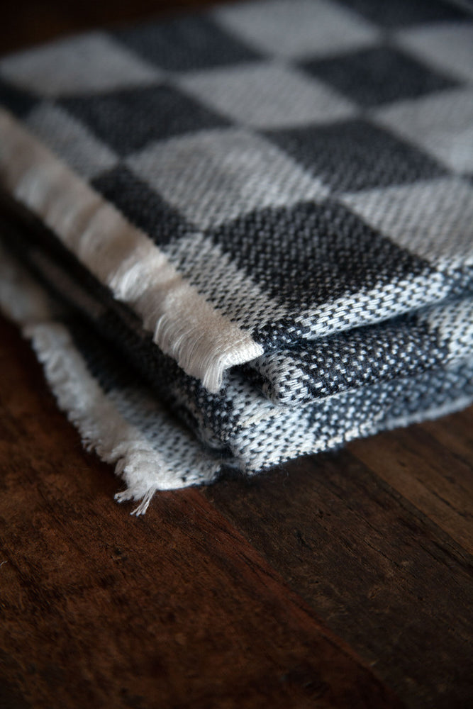 Cashmere Throw - Grey Checkerboard