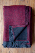 Cashmere Throw - Bordeaux Red and Black