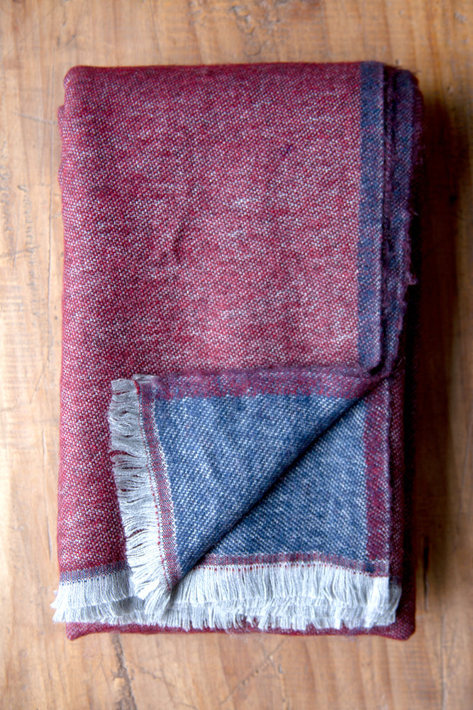 Cashmere Throw - Merlot Red and Navy