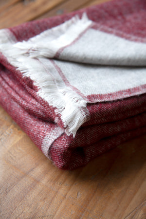 Cashmere Throw - Merlot Red and Grey