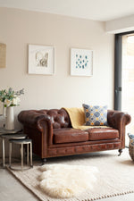 Charlbury Small Leather Sofa - Vintage Cigar Brown
