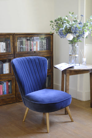 Beautiful Navy Pearson single seater chair, form Cotswold Grey,  in stylish room.